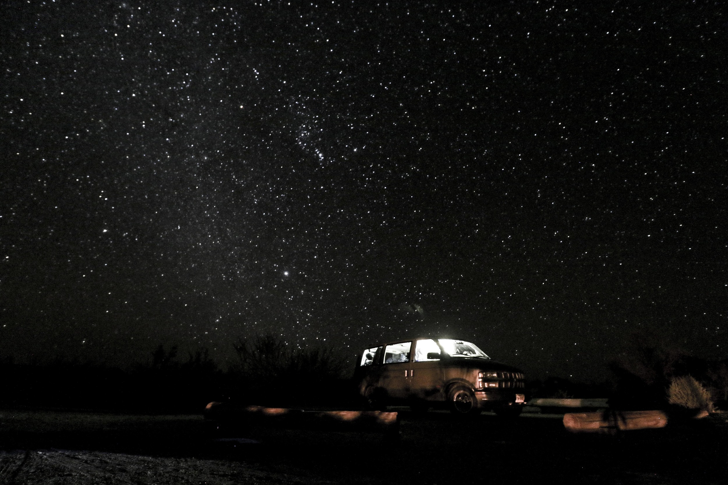 Eddie parked under the stars in Big Bend National Park during our first week on the road.