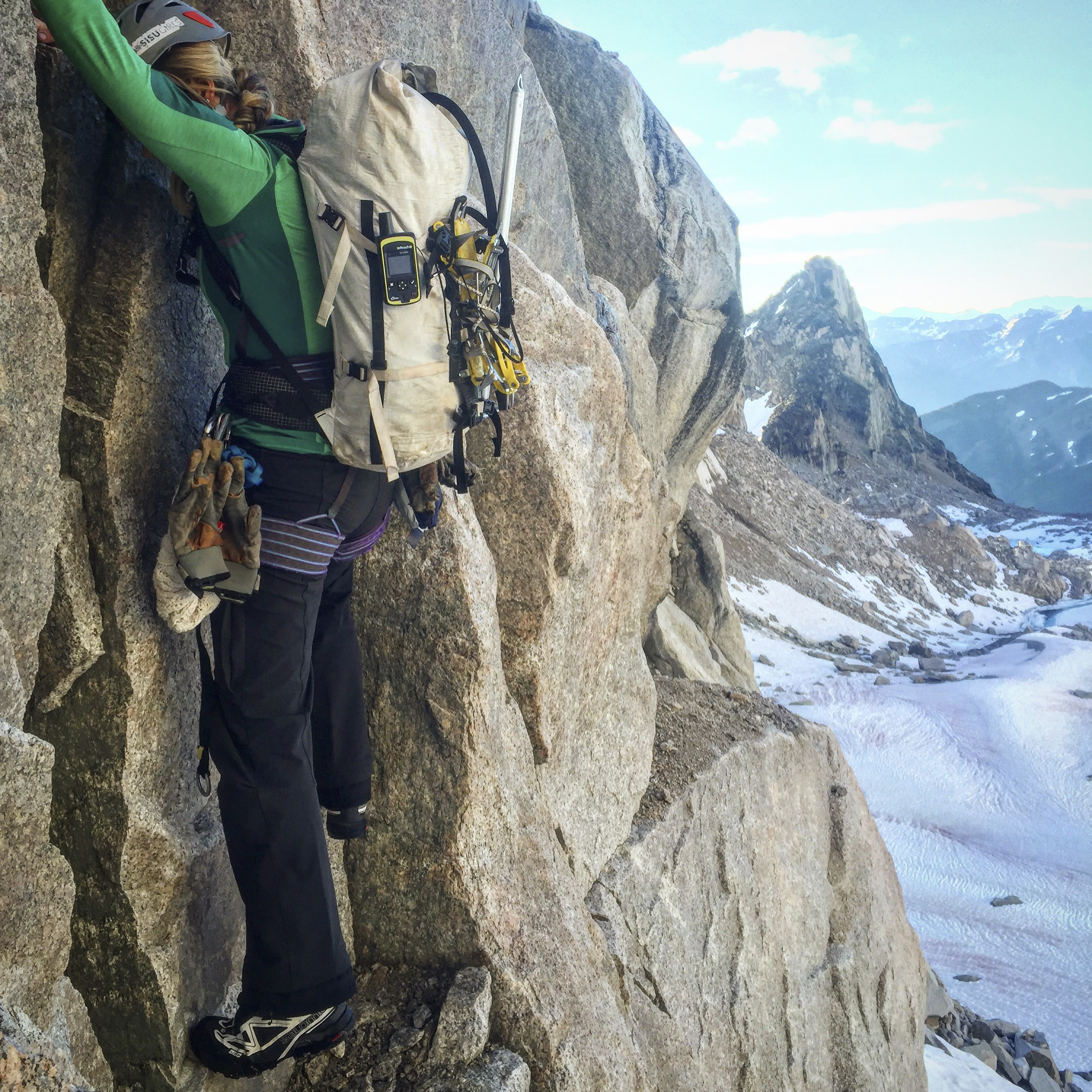Soloing low 5th class terrain on approach to the NE Ridge of Bugaboo Spire, one of the 50 Classic Climbs.