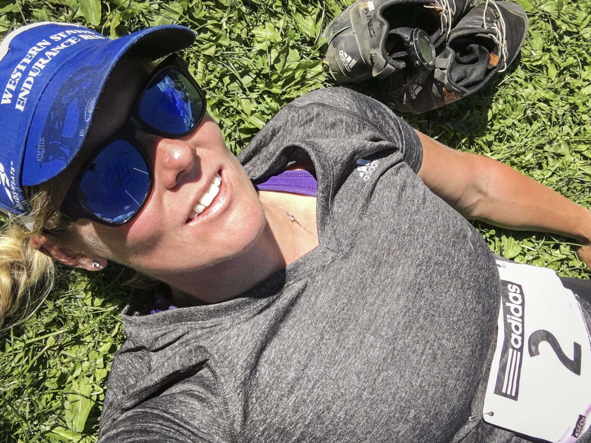 Blissed out at the finish.  Happy to see that I can still bang out a marathon on just four days and ~40 miles of running-specific training.