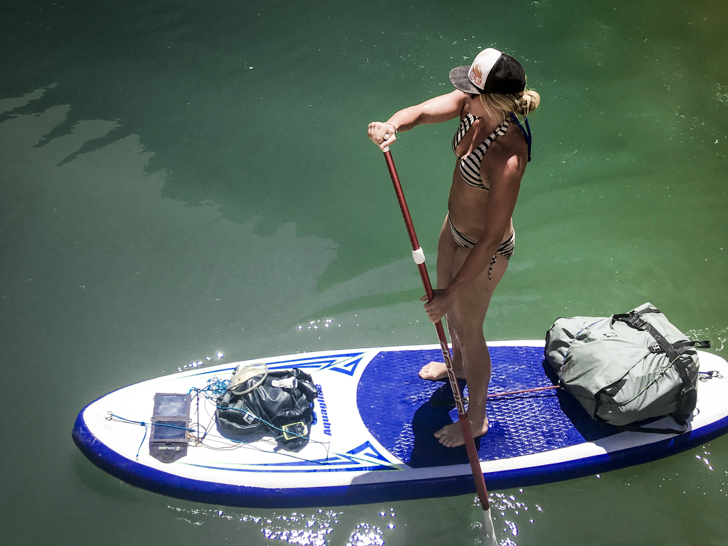 Day 6/8 on the lake.  That Granite Gear Food Pack on the back of the SUP held my entire kit. Photo:  Christina Dowland