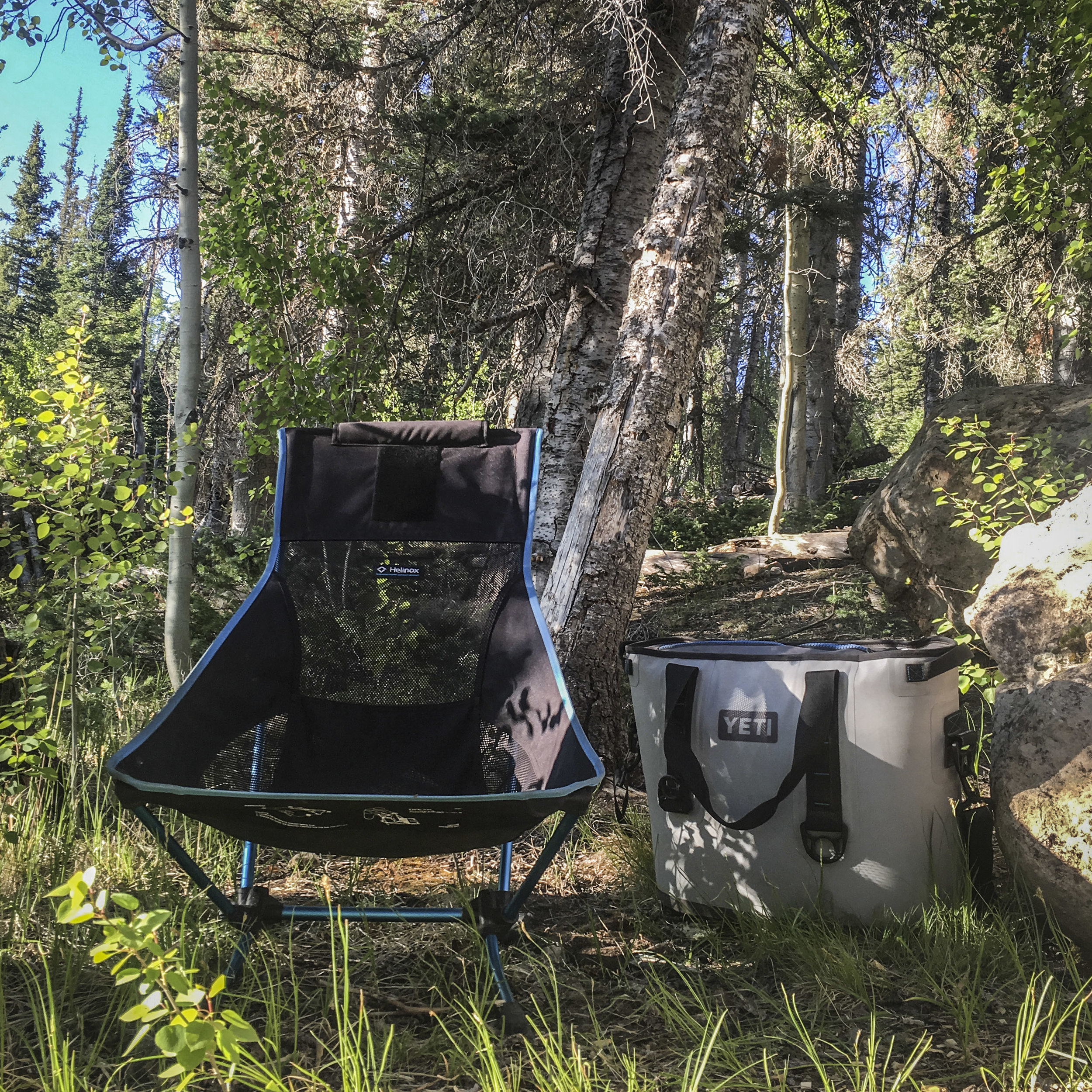 A highly portable cooler = luxury. (And my favorite camp chair, too :))