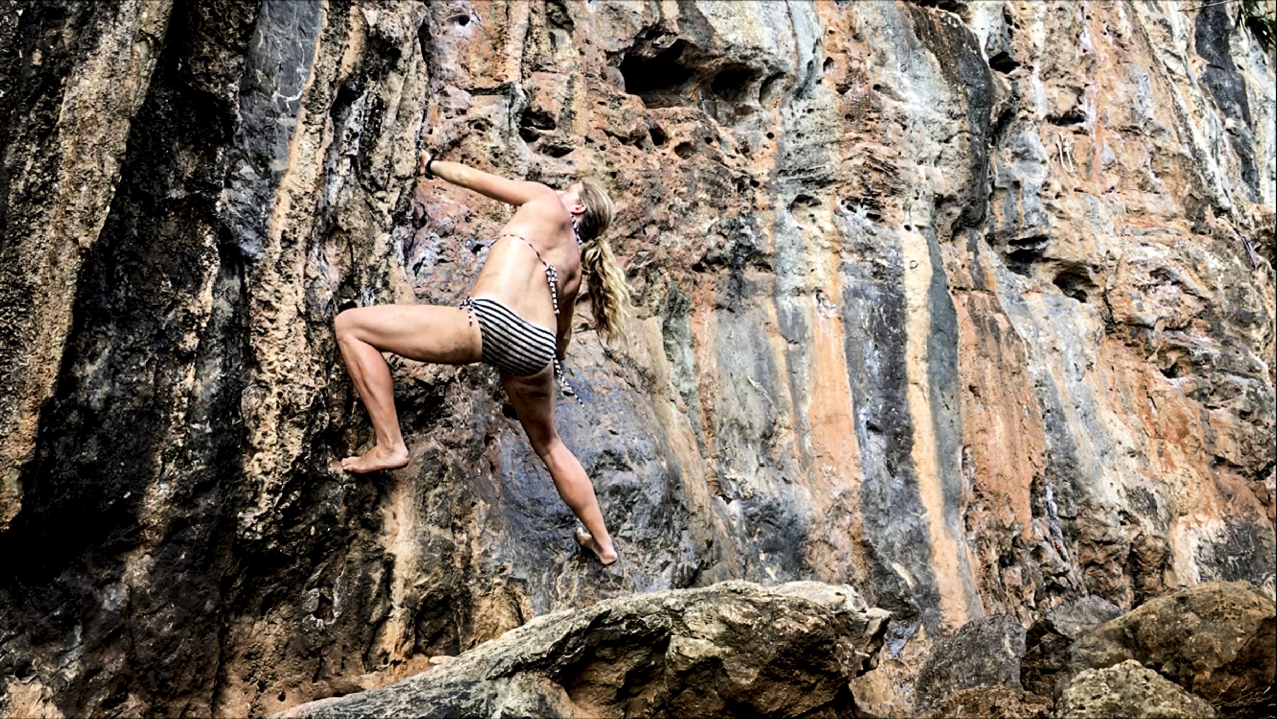 Simple movement over rock...  the ultimate joy of climbing. Shoes or no shoes, clothes or bathing suit.