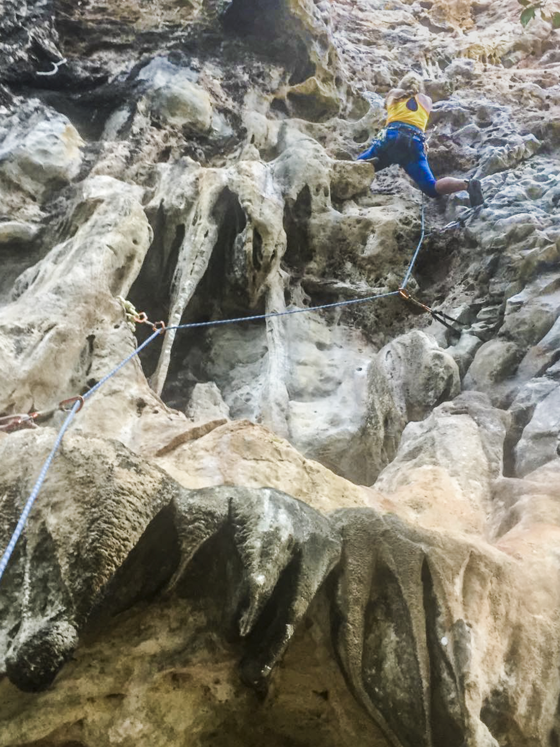 Week two in Tonsai, working a 5.10b - my boyfriend somehow managed to take butt shots AND catch my falls, of which there were a few :) #climbsafe Clothes:  adidas Outdoor .  Photo:   Paul Gagner  .