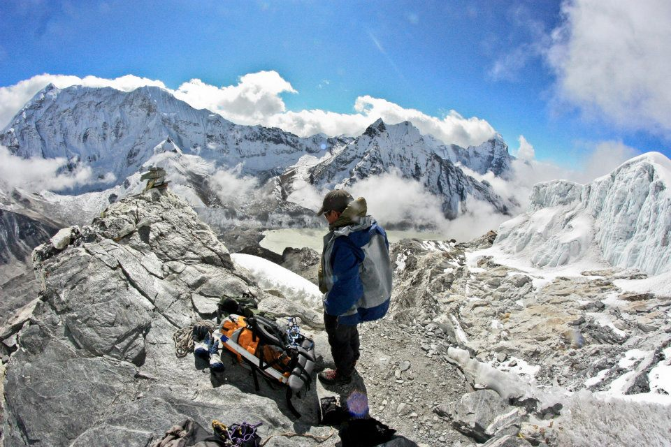 Taking a break with Mingma on the descent from Island Peak, November 2011