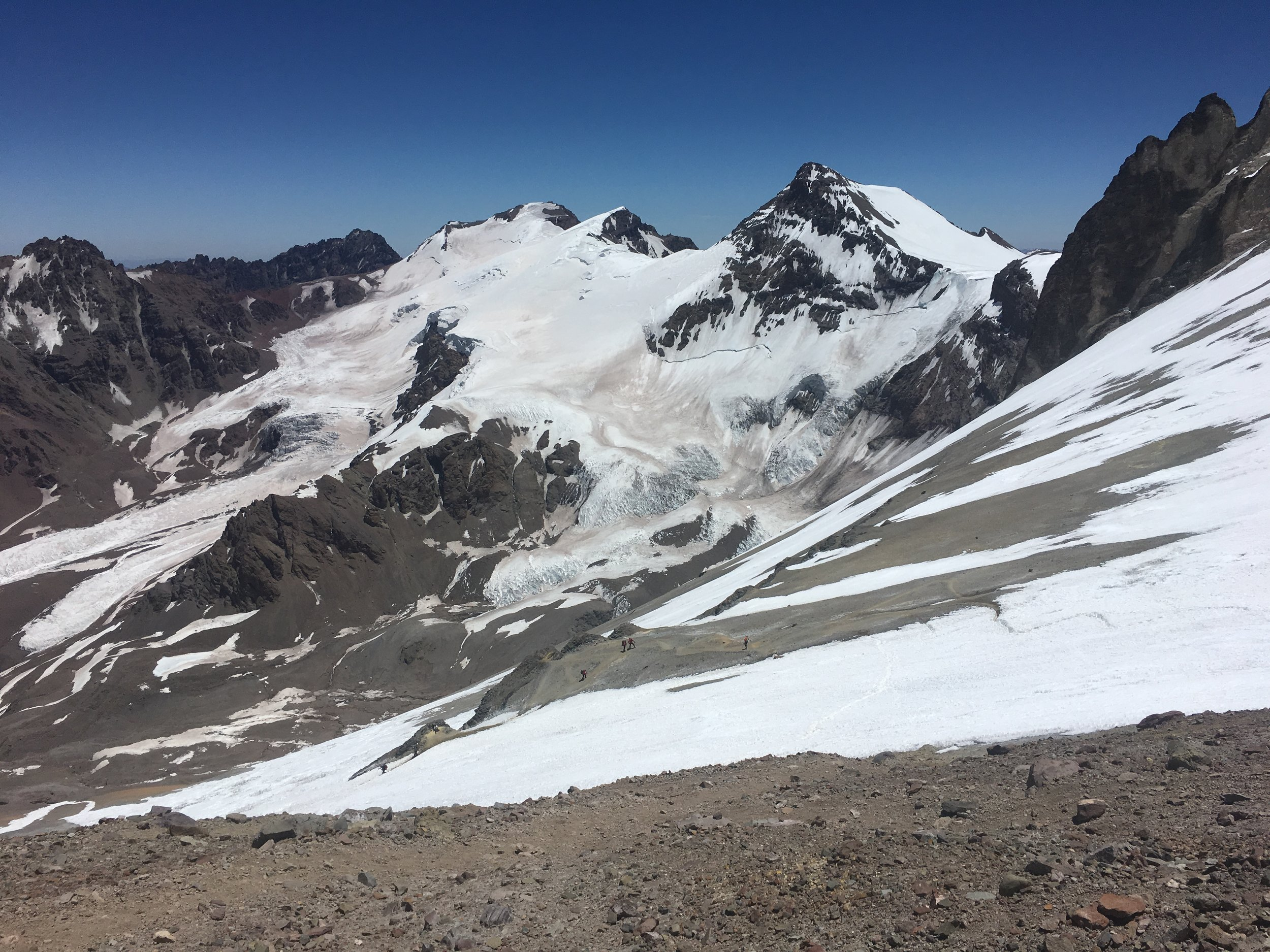 2/3rds the way up to Nido; if you look closely, you can see Polish endurance crusher Anna Figura (right most figure) who tried for a speed ascent on Jan 12 but had to abort due to dehydration