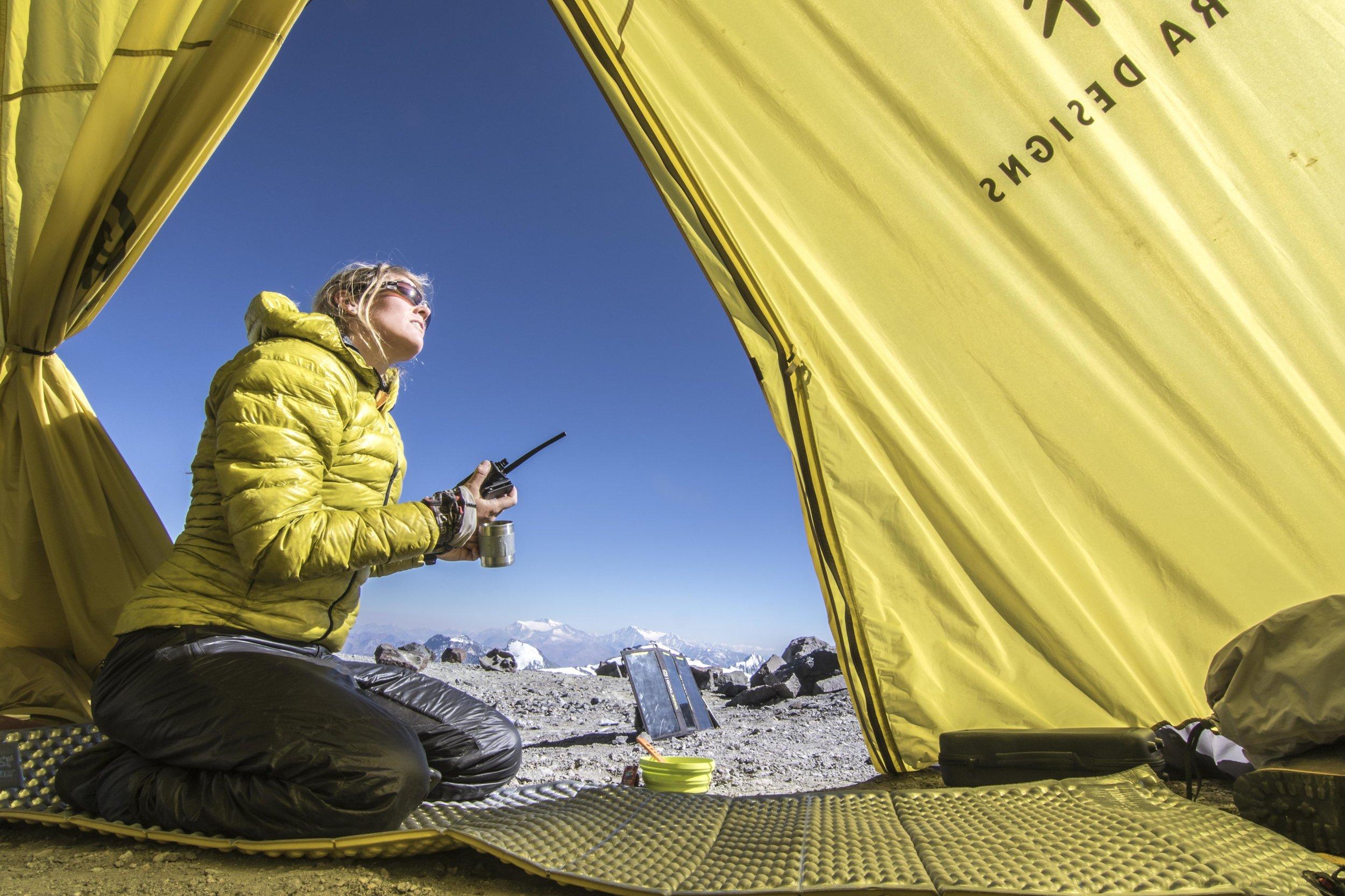 On radio duty at Nido, monitoring Libby's climb