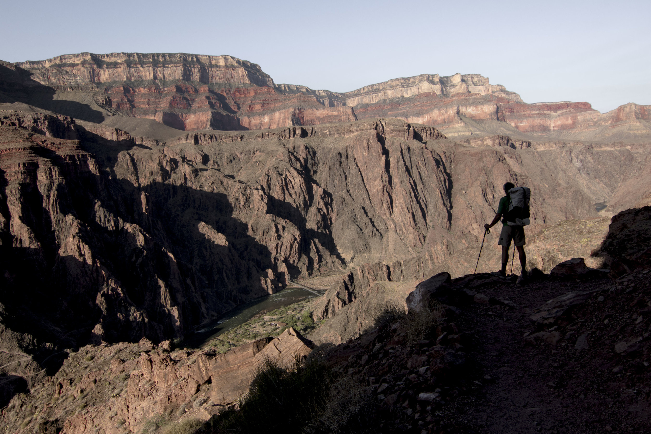 Looking down on the Colorado River;the rim is 3000ft above us at this point
