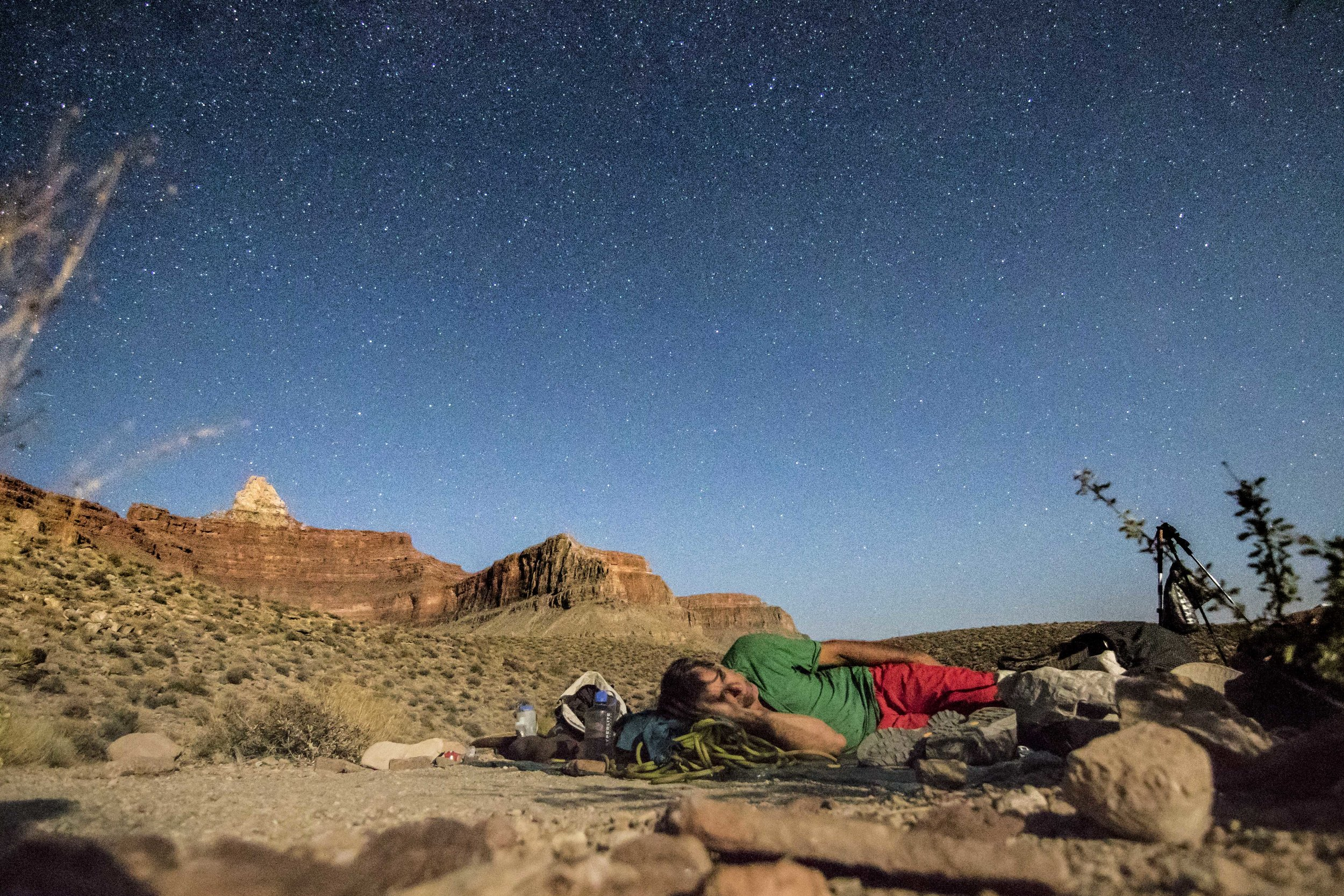 Paul fast asleep after a long day of hiking with Zoroaster's temple in the back;though it looks close, Zoroaster is still ~4 miles and over 3,000 vertical feet from where we are bivying