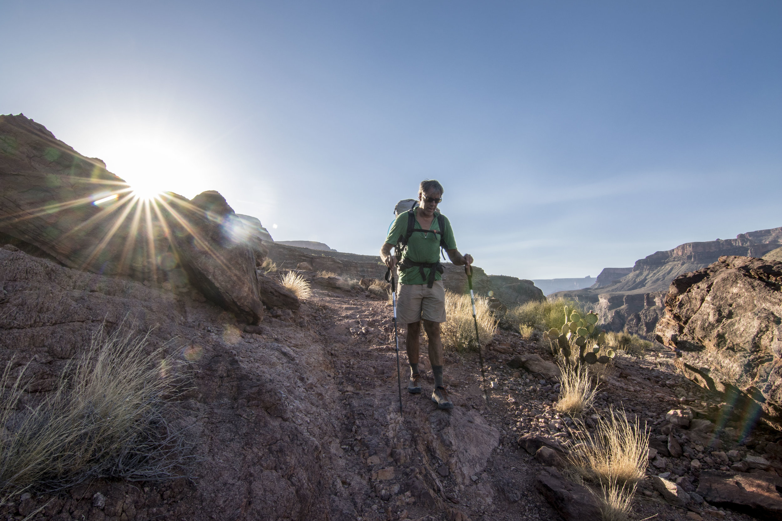 6:45am on Day 3 - rushing to get off the plateau before the sun hits