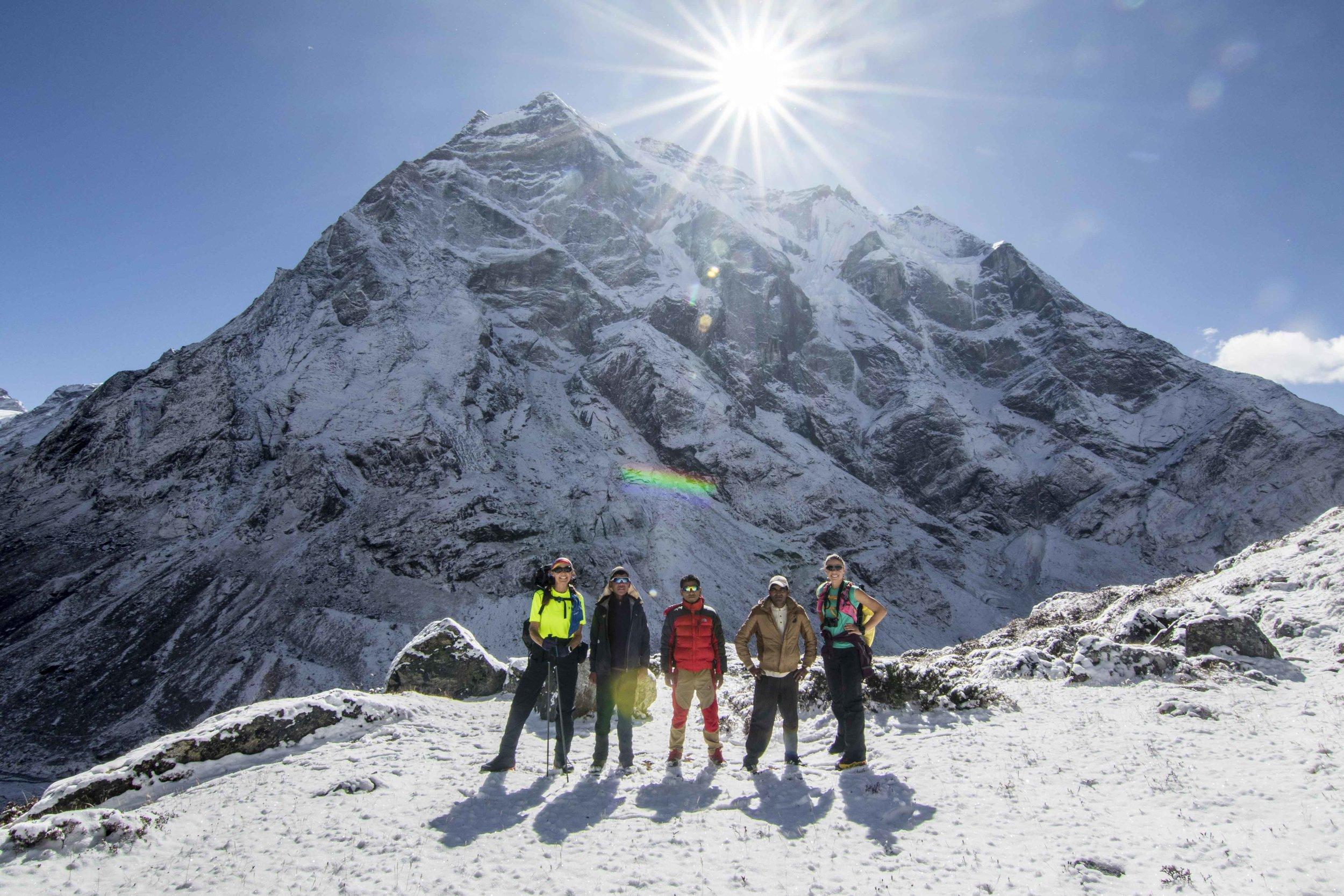 The team in front of Mera Peak (L-R Kat, Geljen, Antarwu, Gishnagiri, Tara; missing Sunny and Mingma)