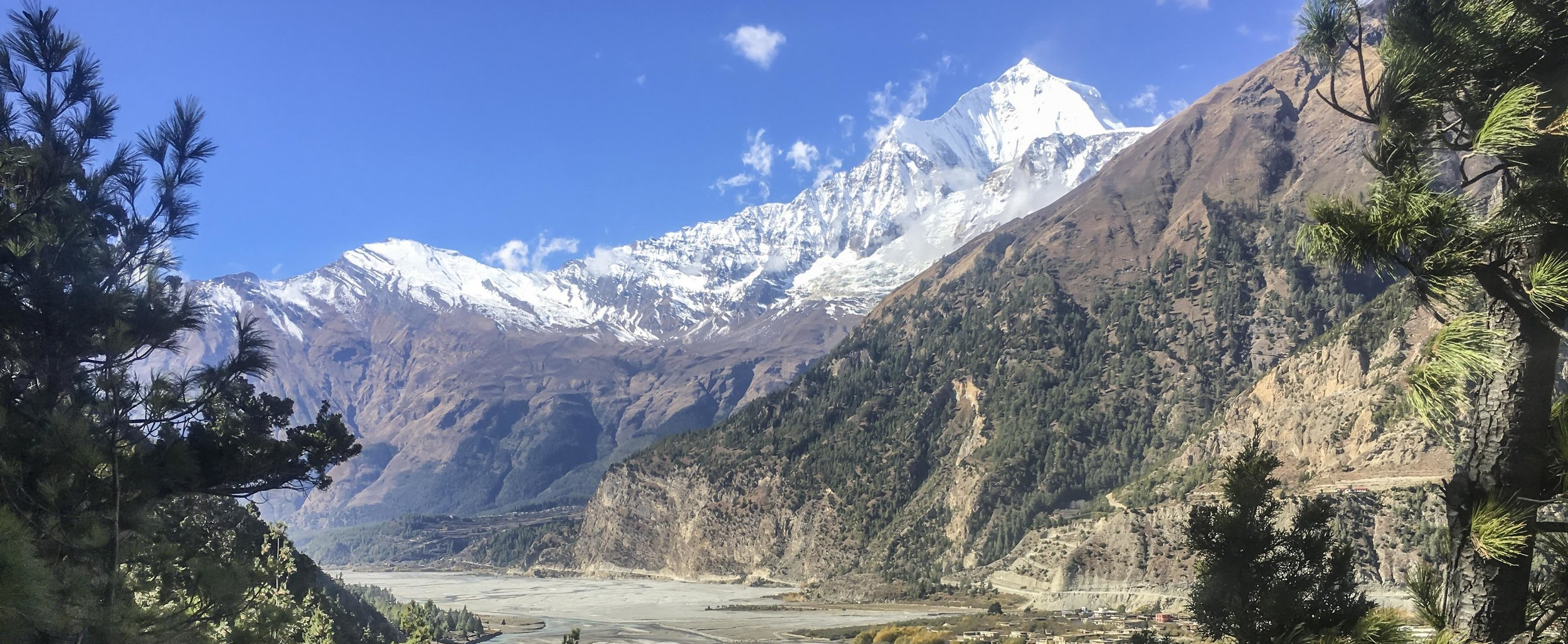 One of the many spectacular views on the Annapurna Circuit... but not Annapurna!  This is Dhaulagiri, one of the three 8000 meter peaks that the circuit passes by.