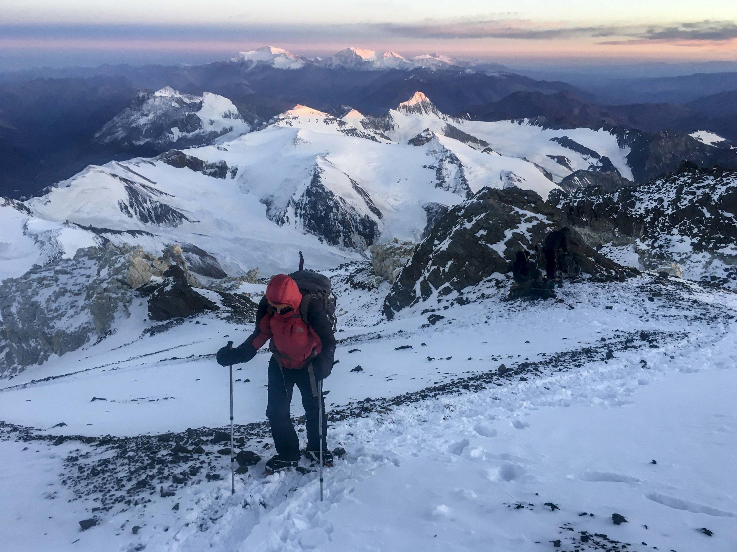Kristin at dawn on summit day
