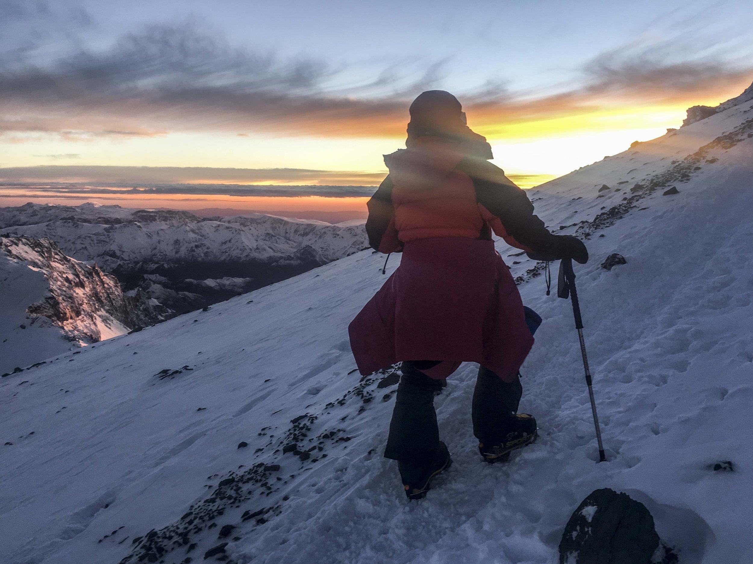 Walker climbing high above Camp III on summit day