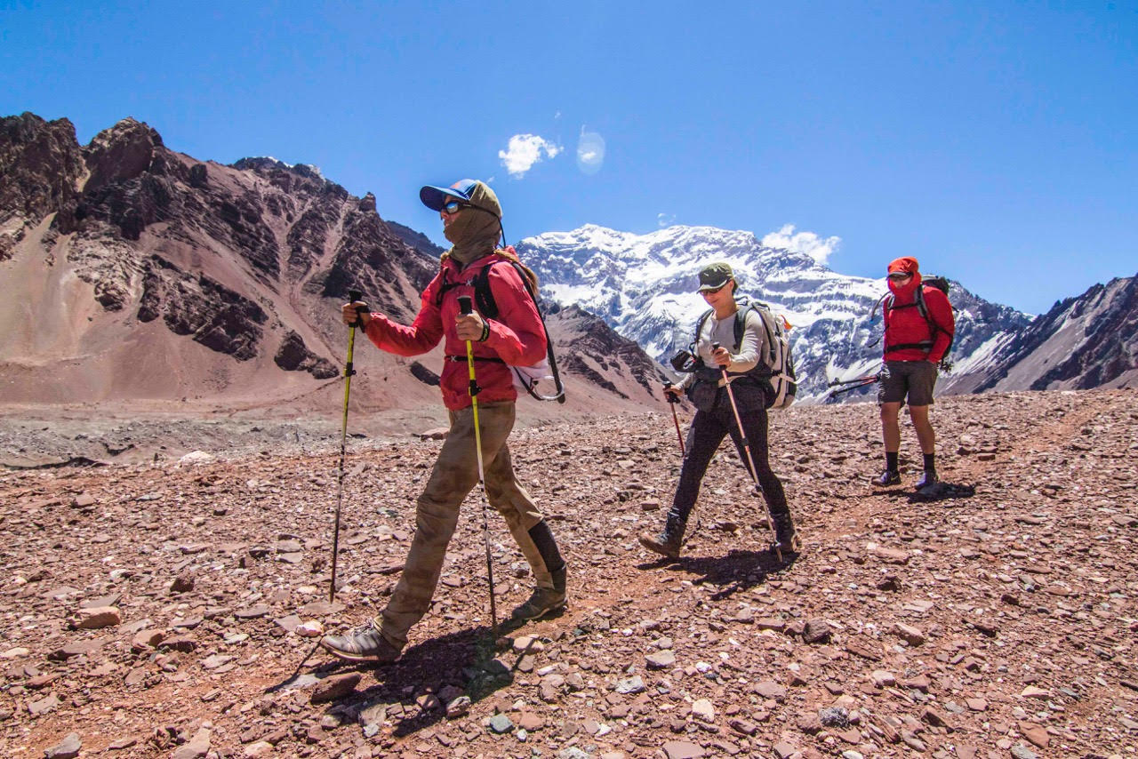 Acclimatization hike on the approach to Aconcagua's basecamp