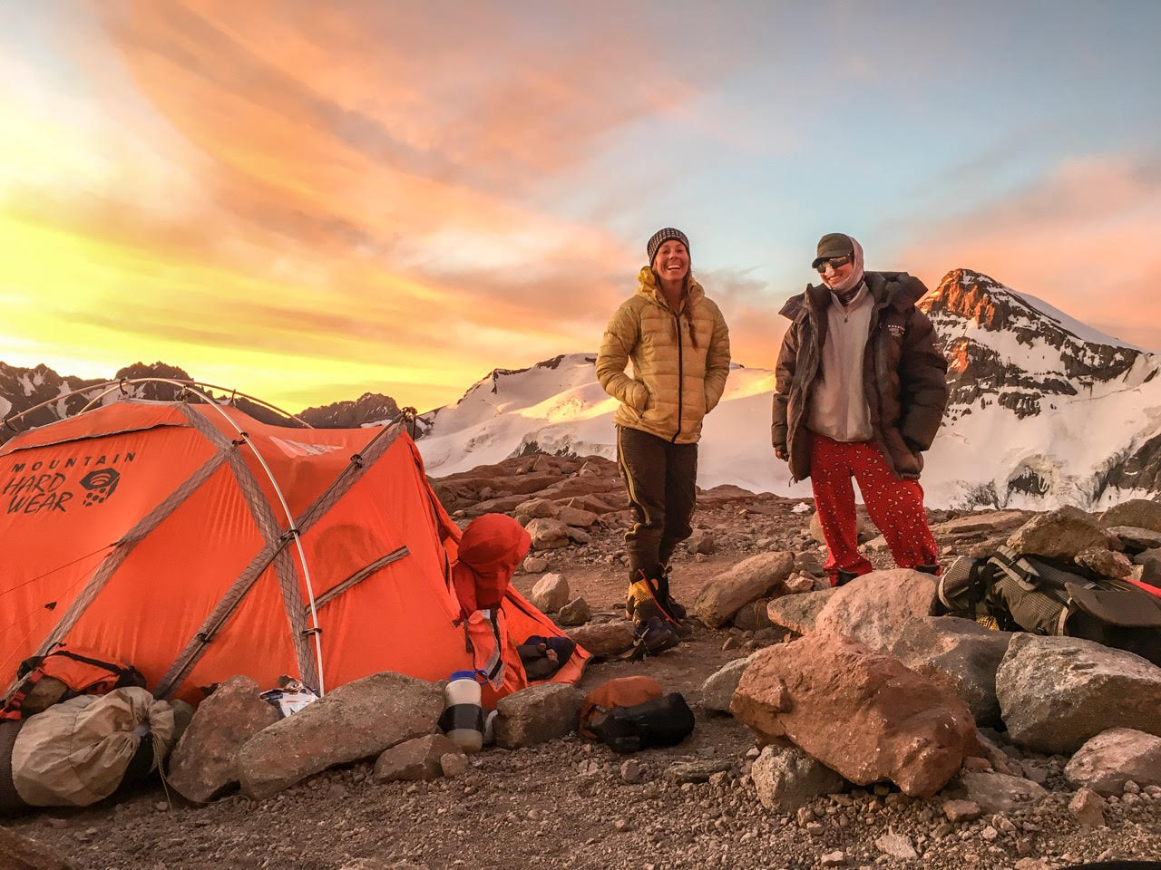 Happiness is only real when shared - particularly during a sufferfest mission in the mountains.  (Aconcagua Ruta Normal, Camp I)