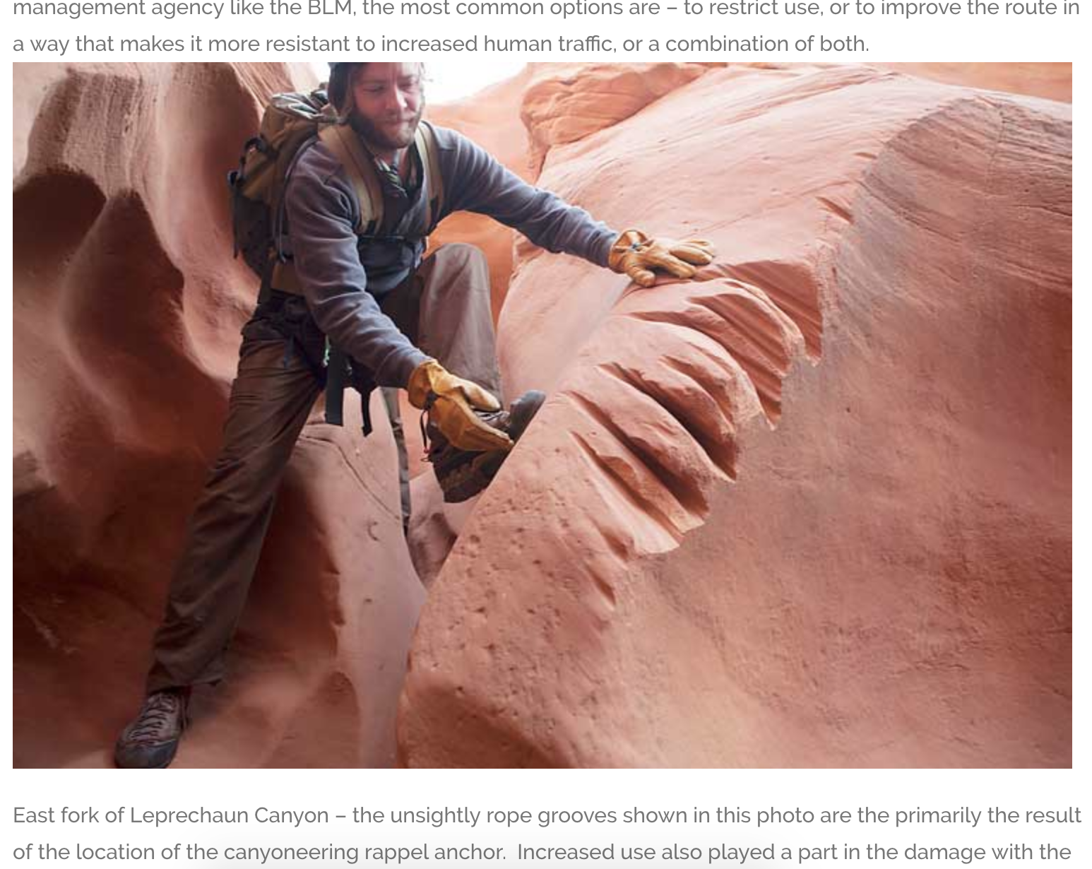 Human-caused sandstone damage (rope grooves) in Leprechaun Canyon. Photo Credit  Red Desert Adventures