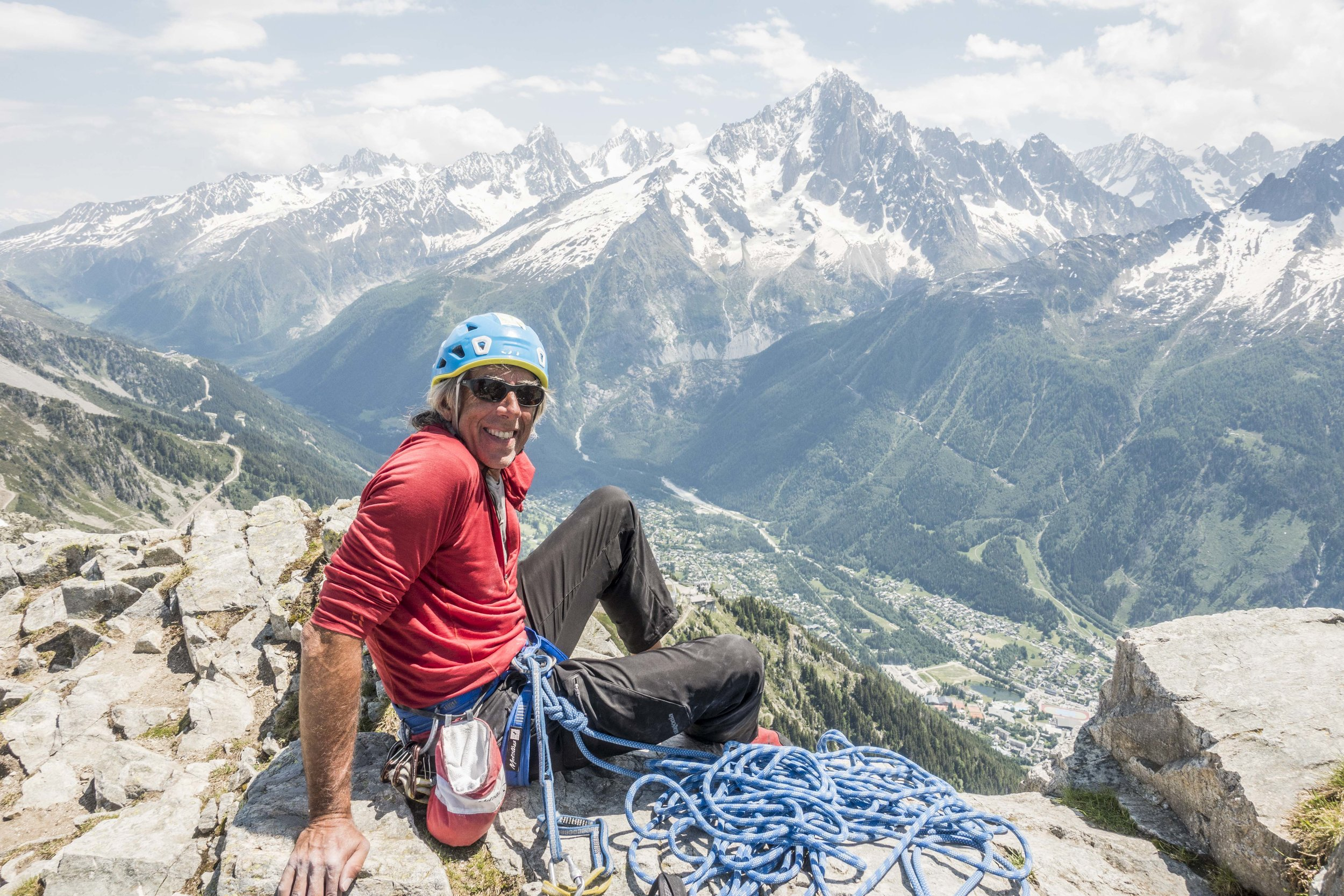 Paul on recent day of carefree alpine cragging in Chamonix