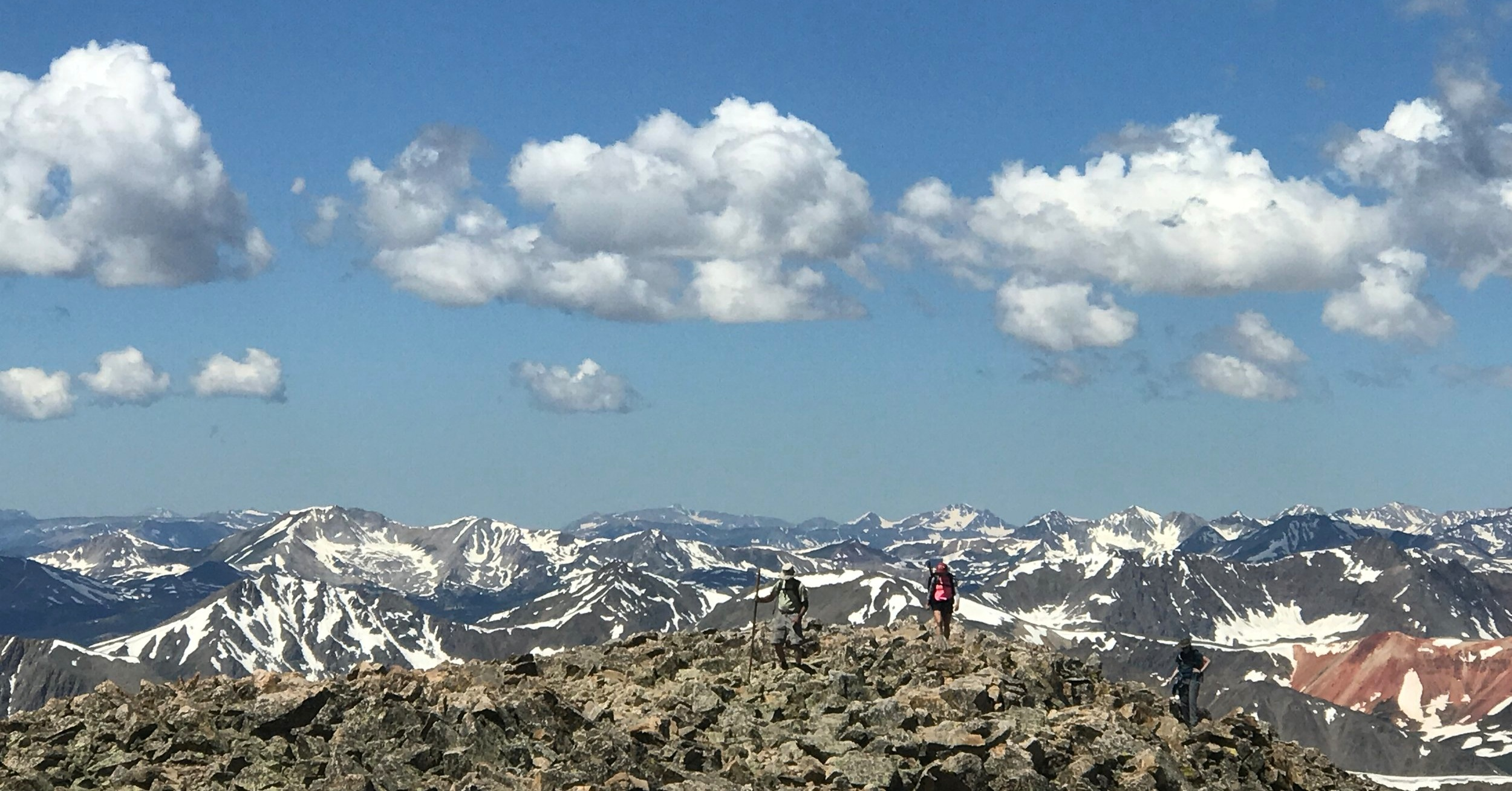Hikers nearing the summit of one of Nolan's many 14,000ft peaks.