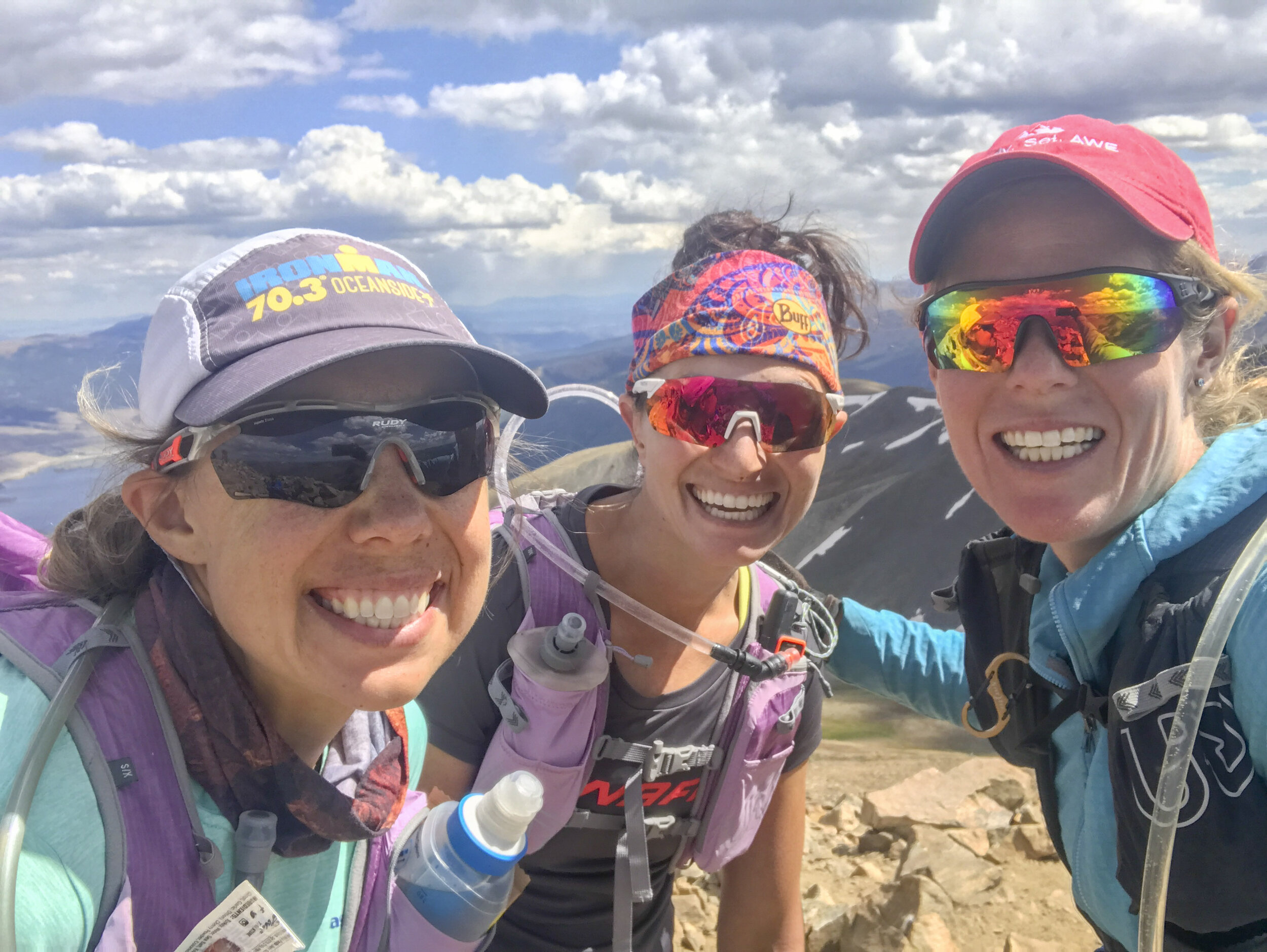 Tara, Ilana and I all smiles on Mt Elbert, Colorado's tallest 14er and summit #2 of Nolan's 14.