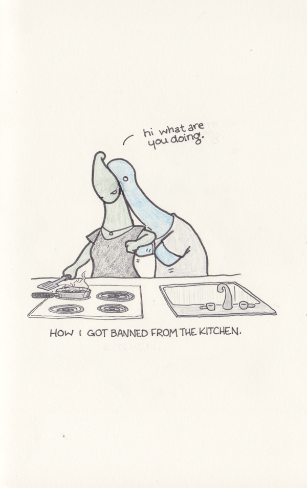 Blue Dinosaur gets banned from the kitchen.