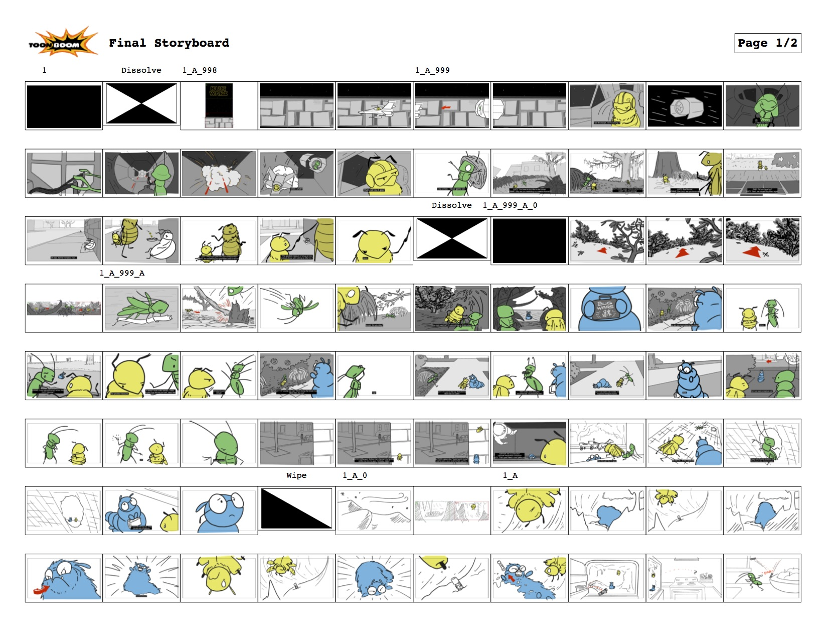 storyboard for my graduate storyboarding class final project