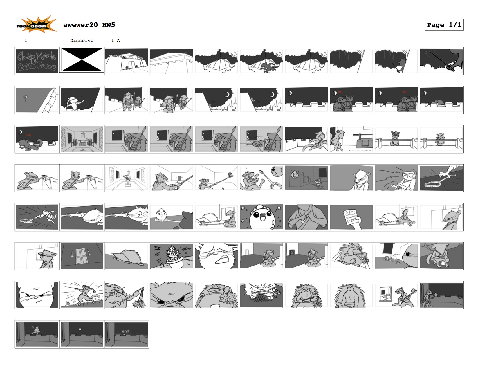graduate storyboarding class assignment involving three unrelated words