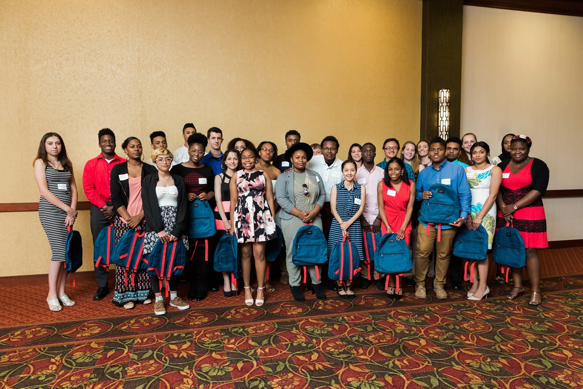 29 College-bound Scholars with their new  State Bags backpacks