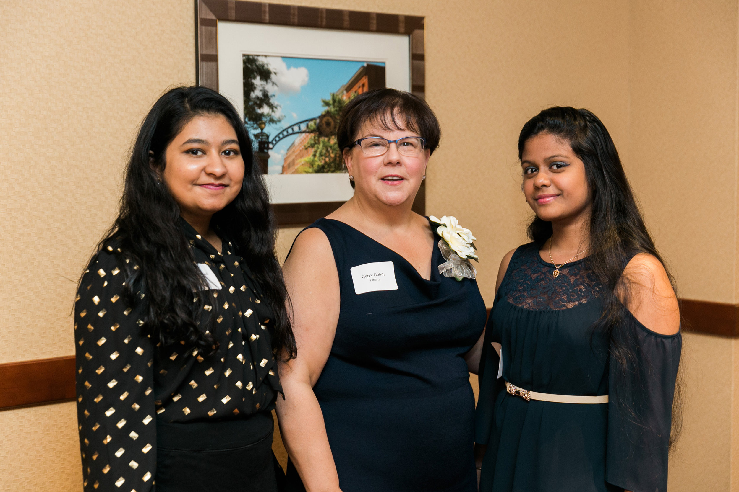 Vashnie with her mentor, and Sponsor-A-Scholar board member, Gerry Golub, and Schenectady Scholar Pamela Loojune at the 2017 Scholar Celebration