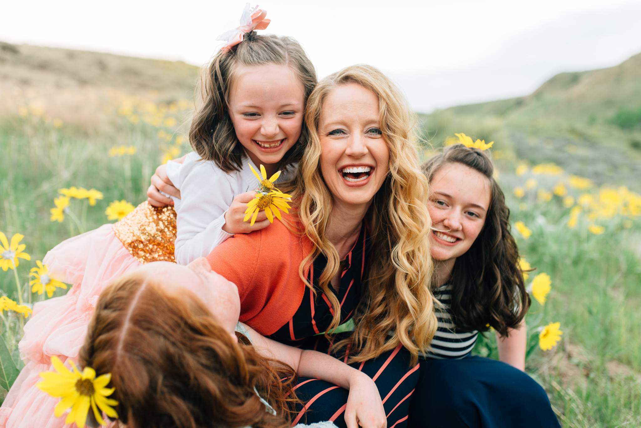 boise family photographer | family in the foothills | Mom and her daughters in the wild flowers