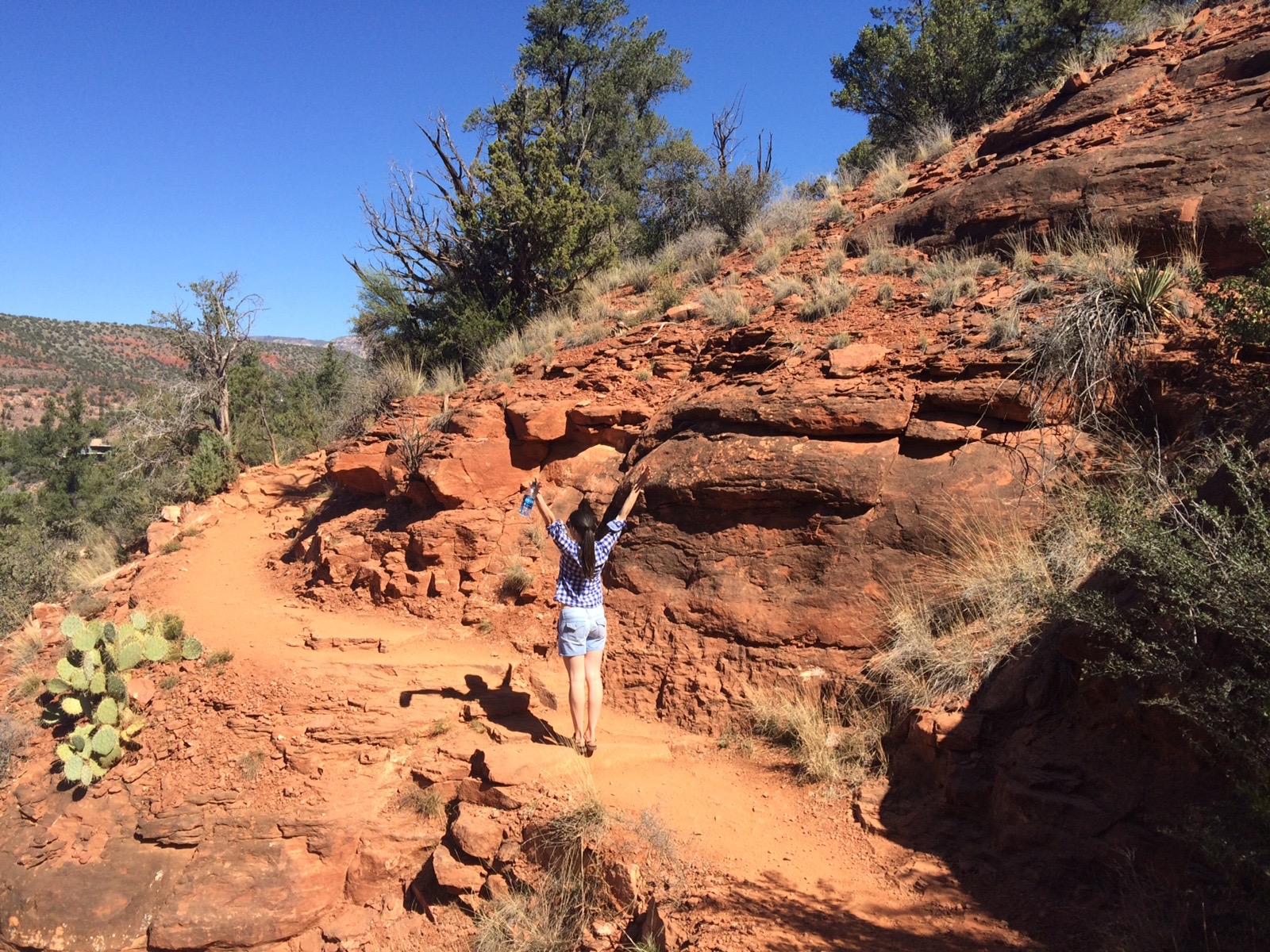 Celebrating newfound freedom and joy while hiking with my cousin in Sedona. February 2016.