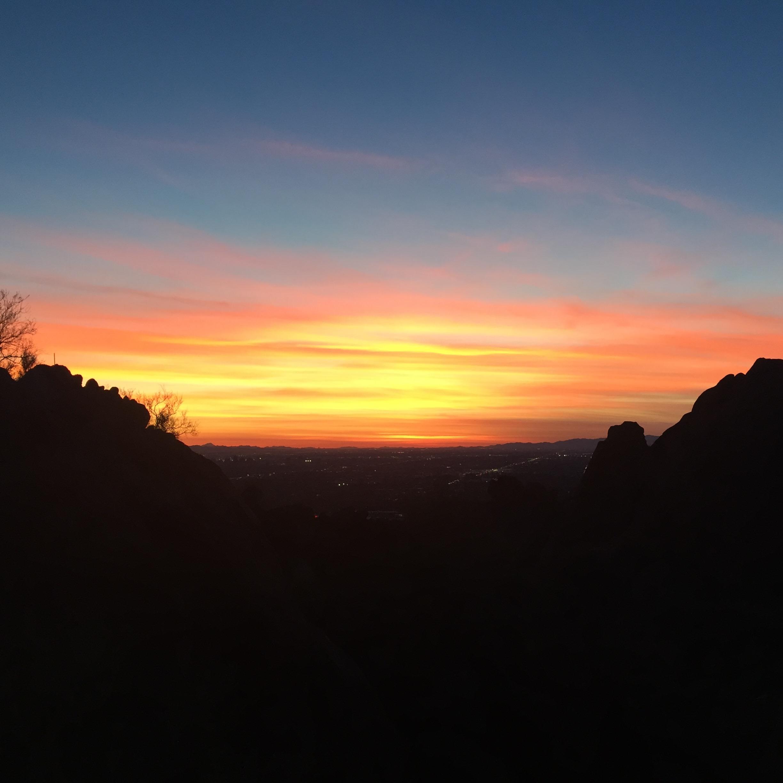 Sunset from Camelback Mountain. Phoenix, AZ.