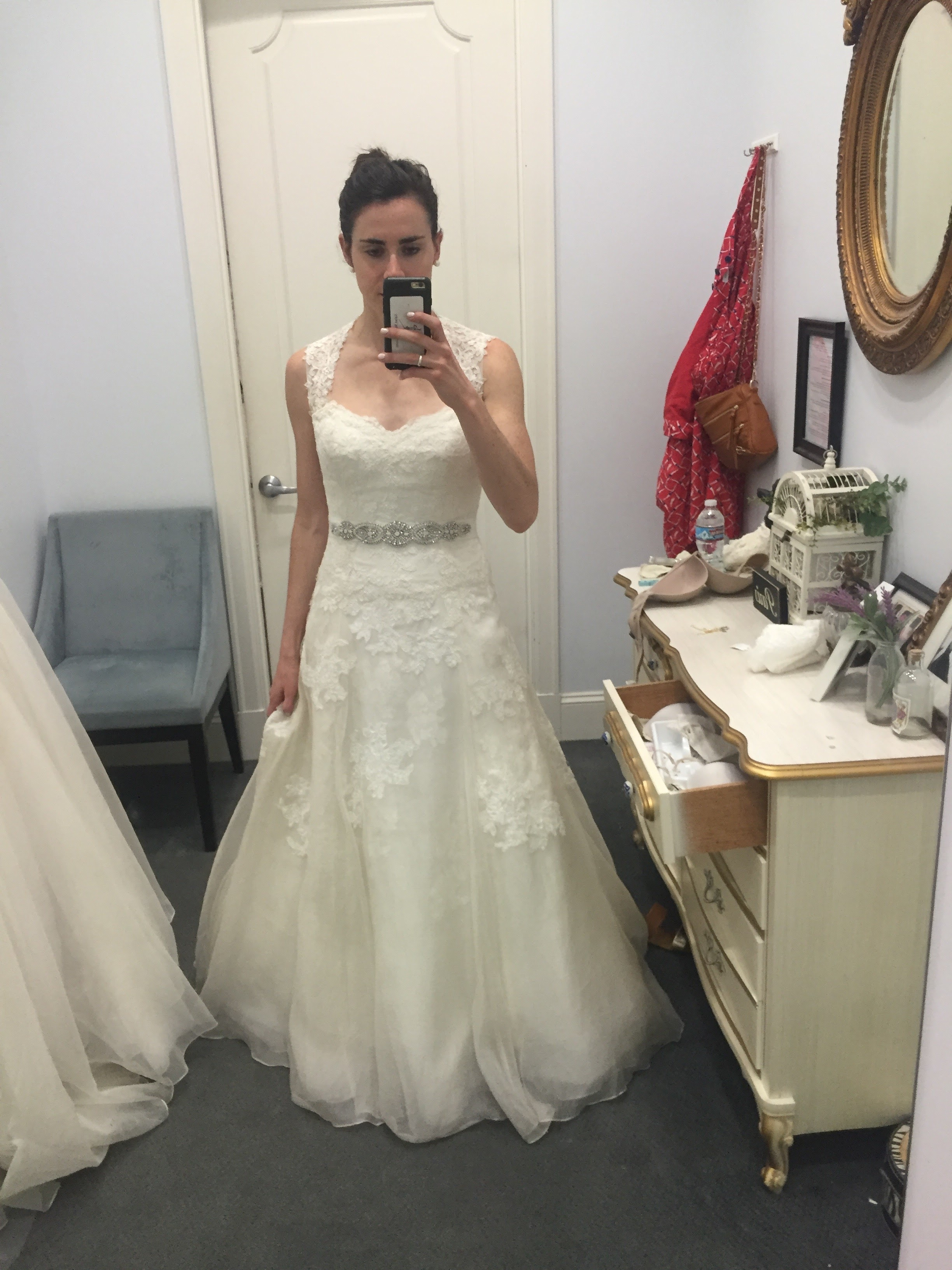 This was one of the first A-line dresses I tried on, after I realized that I didn't really like the sheath look. It was a no because it reminded me of SO many of the wedding dresses I've seen in the past few years. It also wasn't the best fit on me.