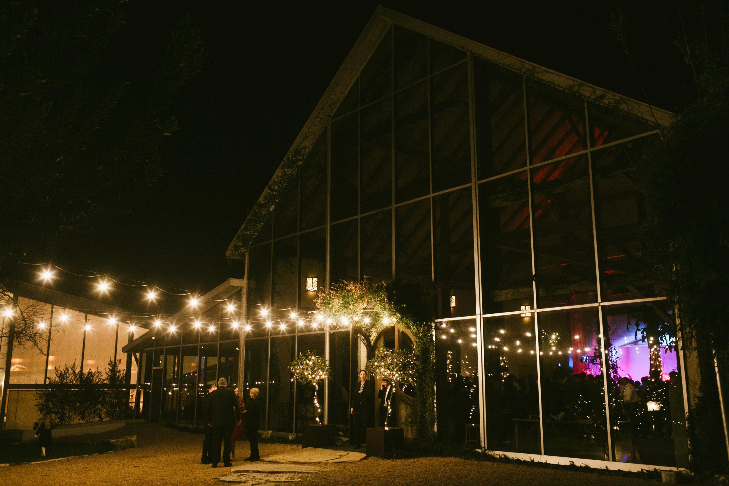 Ballroom at night.