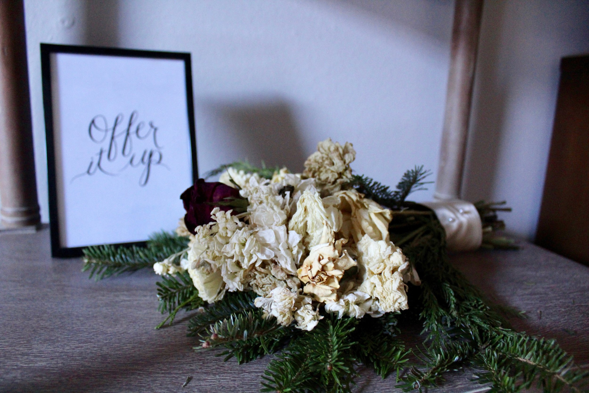 My (dried) wedding bouquet by  Petals, ink , and print by  HatchPrints .