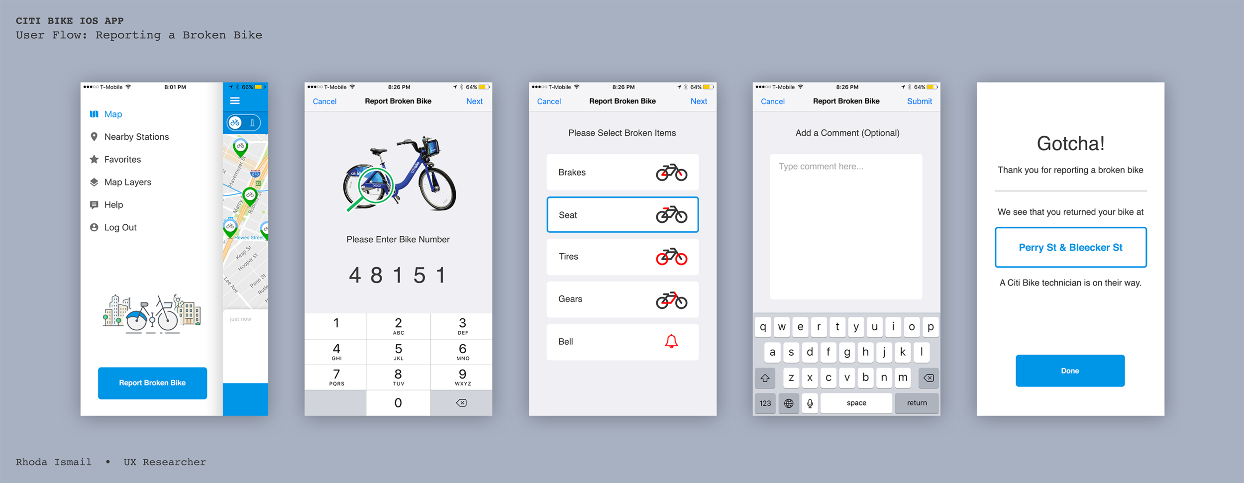 I designed a User Flow along with a visual designer to indicate how the user might report a broken bike right from the Landing Page, on the IOS app.