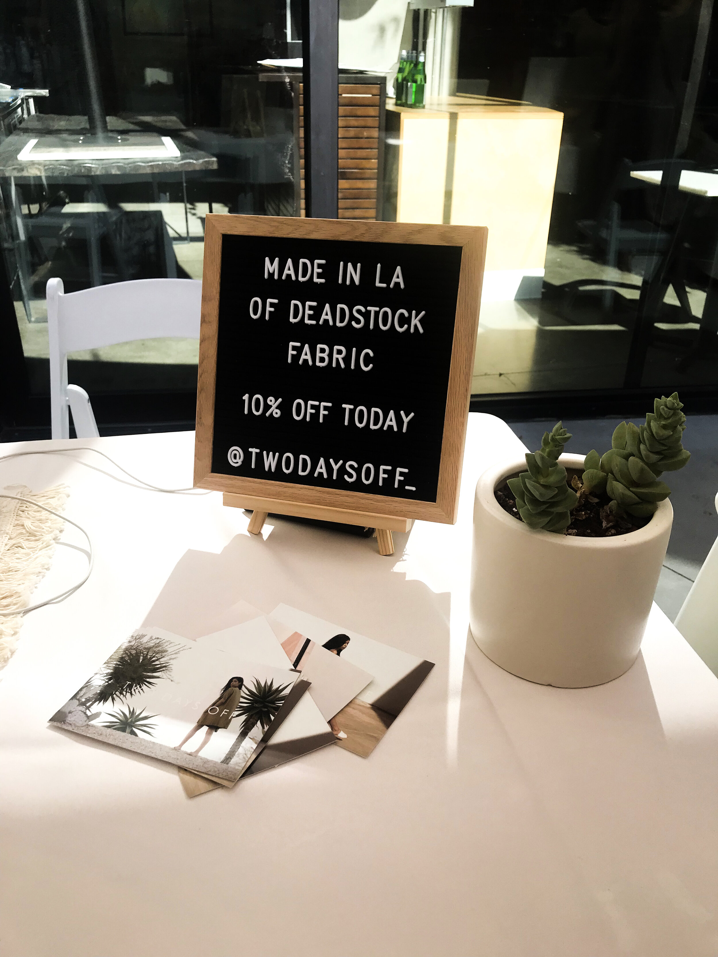 'Two Days Off' Table at the  Modern Artisan Marketplace  at the Platform in Los Angeles.
