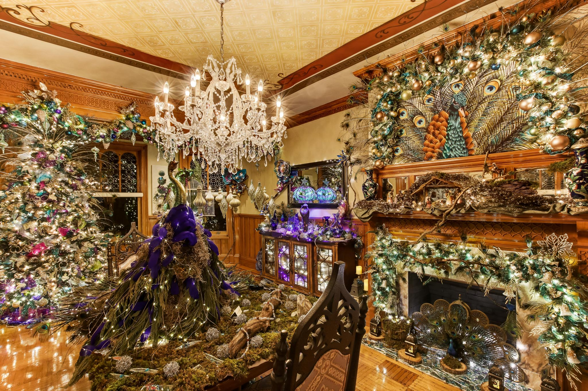 Stetson Mansion peacock Christmas decorations