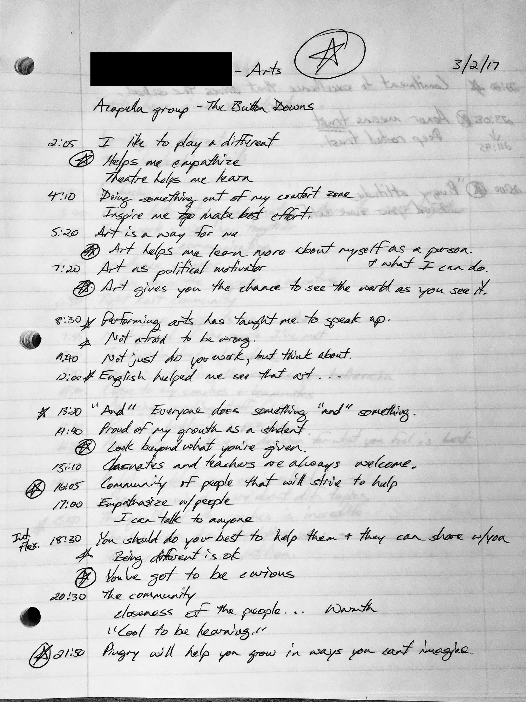 Notes from one of my student interviews that helped inform the script