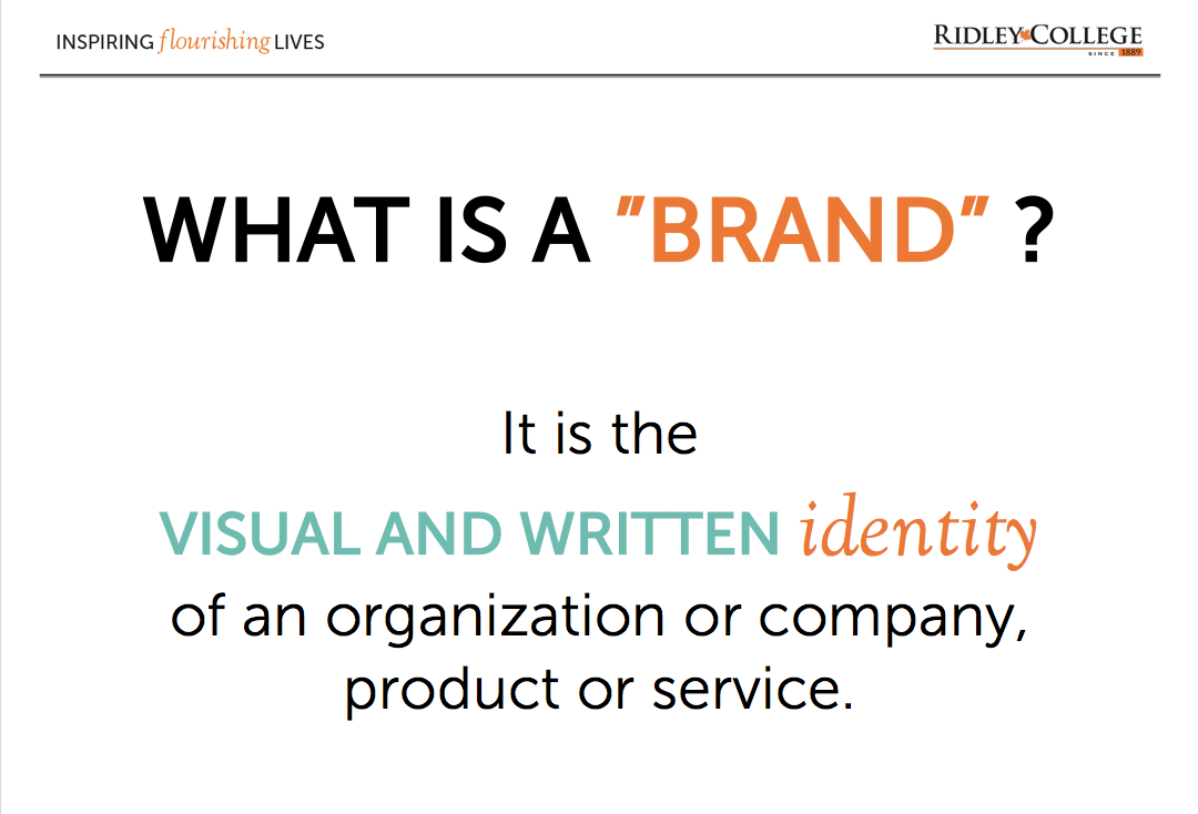 """START OFF WITH A DEFINITION OF """"BRAND."""""""