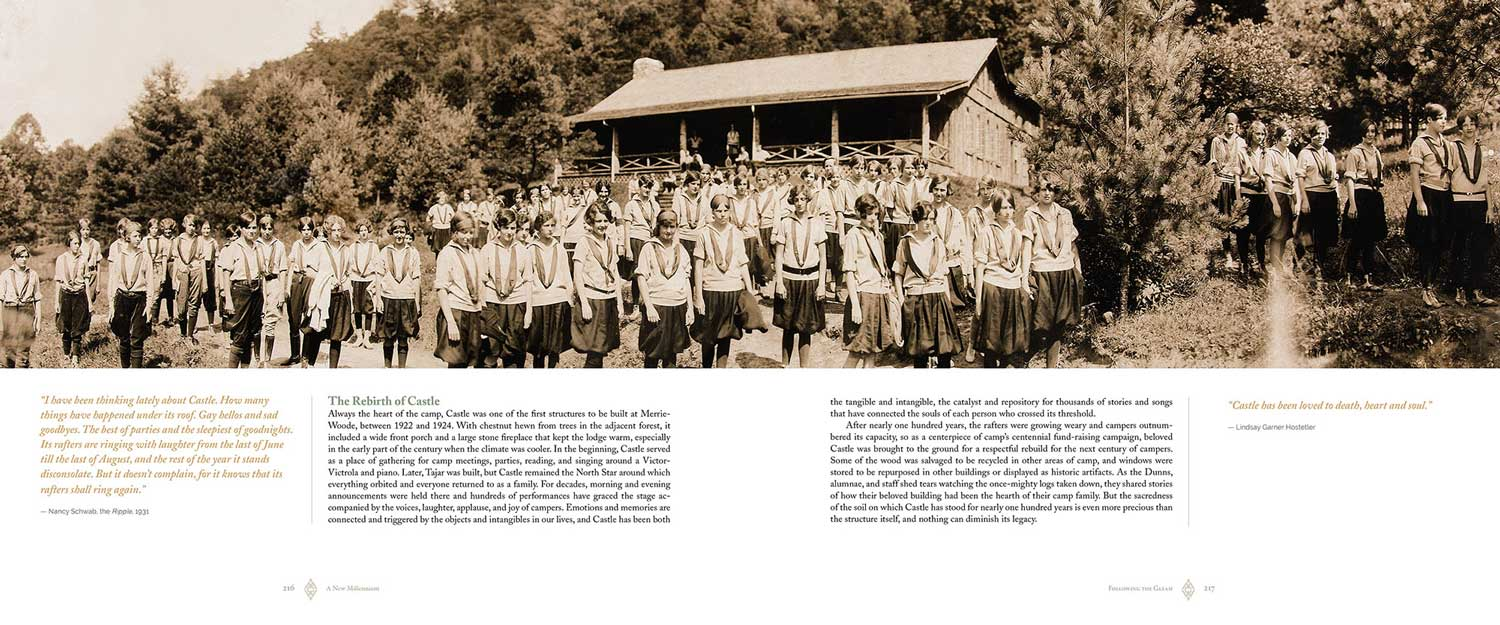 Camp Merrie-Woode had an extensive archive of photographs to draw from. The above photograph inspired us to recreate a big group photo for the camp. Here is a link to a blog about that photograph:  The Big Picture