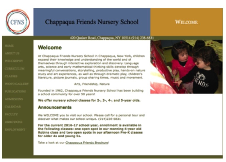 Chappaqua friends website before the redesign.