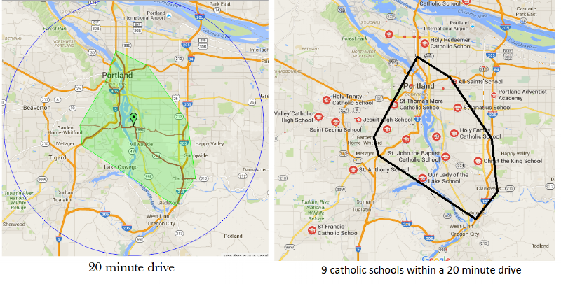 fig 3. Map of potential Catholic Feeder Schools in a 20-minute driving radius from St. Agatha School in Portland, OR