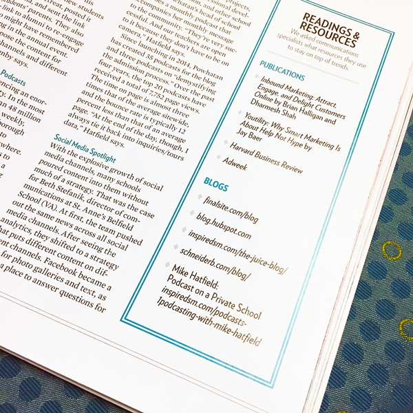 InspirED was honored to be listed in the NAIS Independent School magazine as a resource for keeping up on communications trends. -