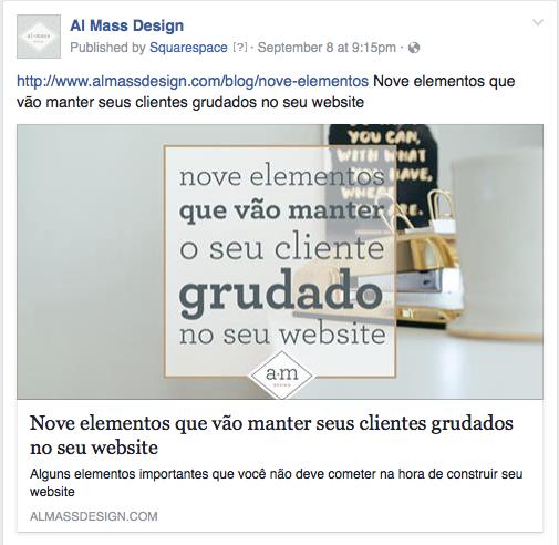 Exemplo de como aparece o post automático no  Facebook