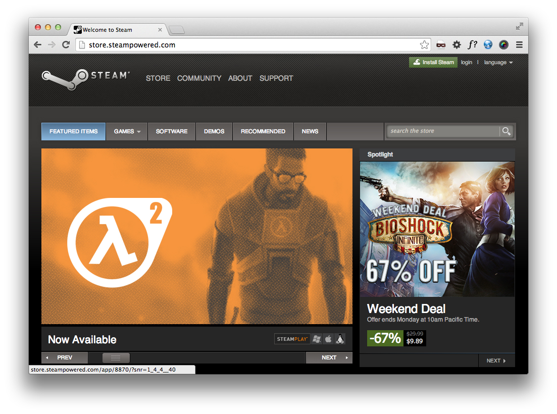 Cover art shown on the Steam homepage