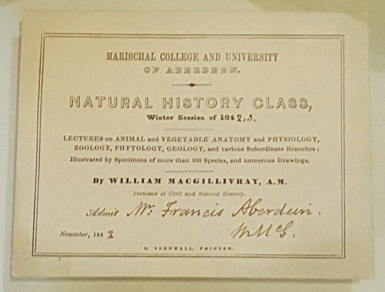 Ticket to one of MacGillivray's lectures when he taught at Marischal College