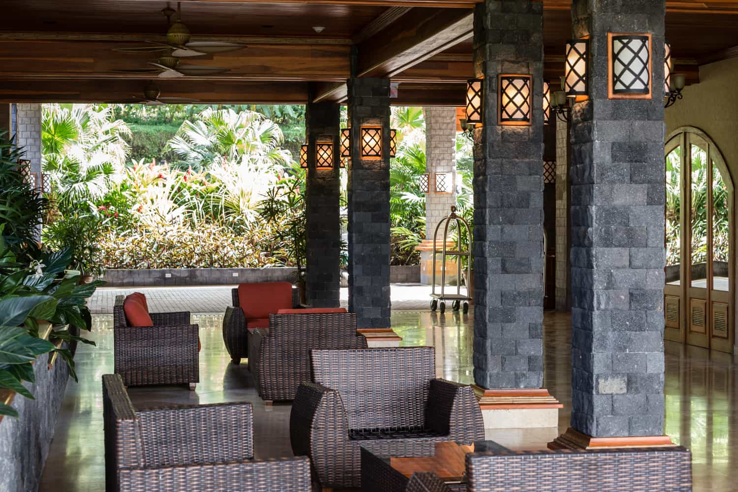 Entrance to the Aracari Terrace at The Springs Resort & Spa in Arenal.