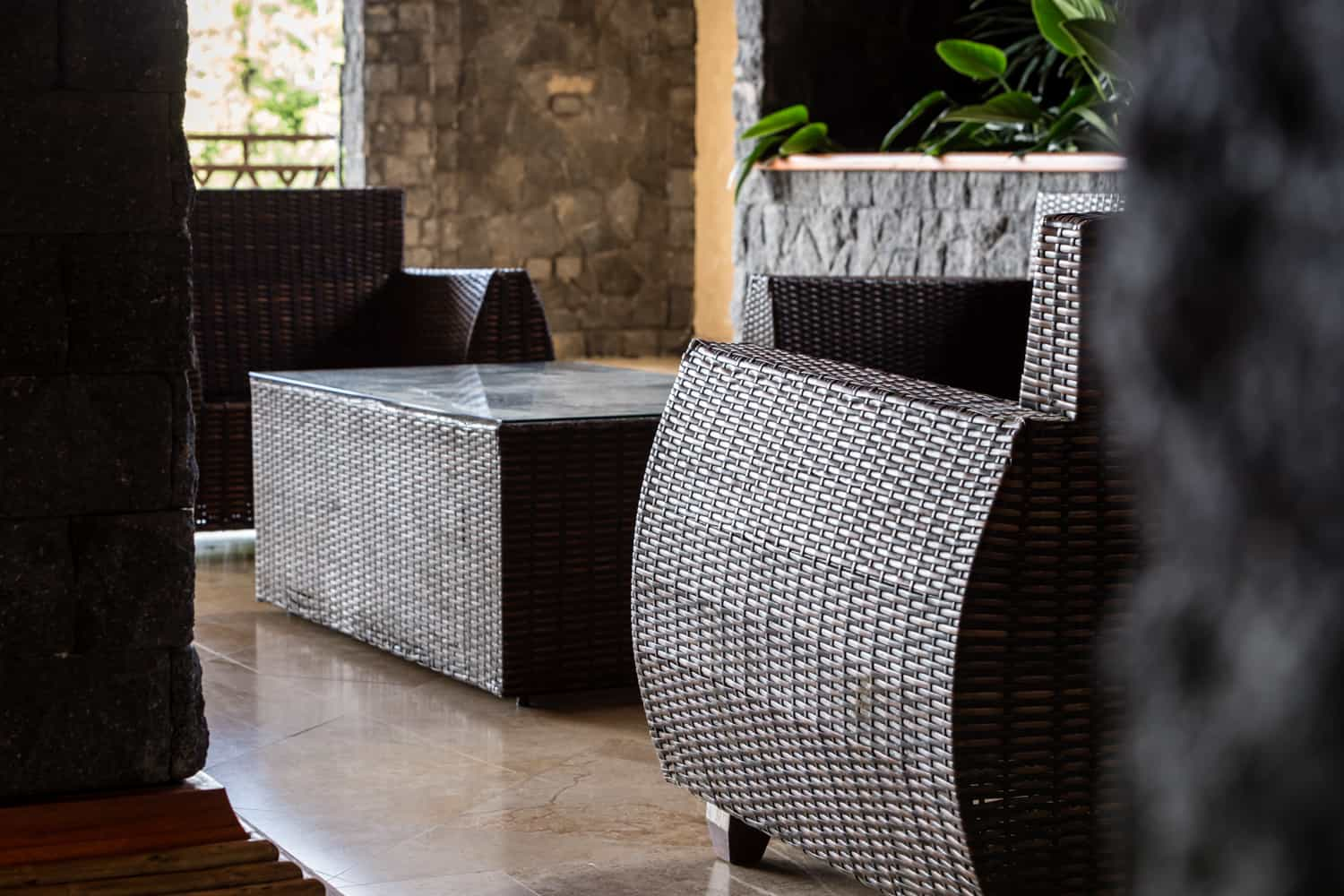 Furniture for wedding guests for your ceremony on the Aracari Terrace at The Springs in Arenal.