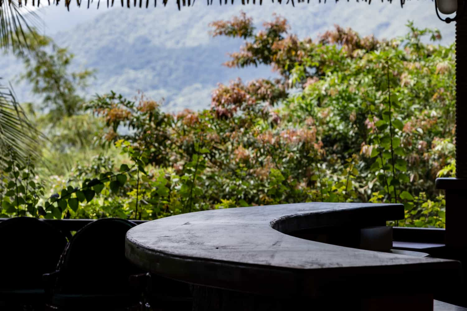 The bar under the El Ranchito hut that has an amazing view of the Arenal Volcano.