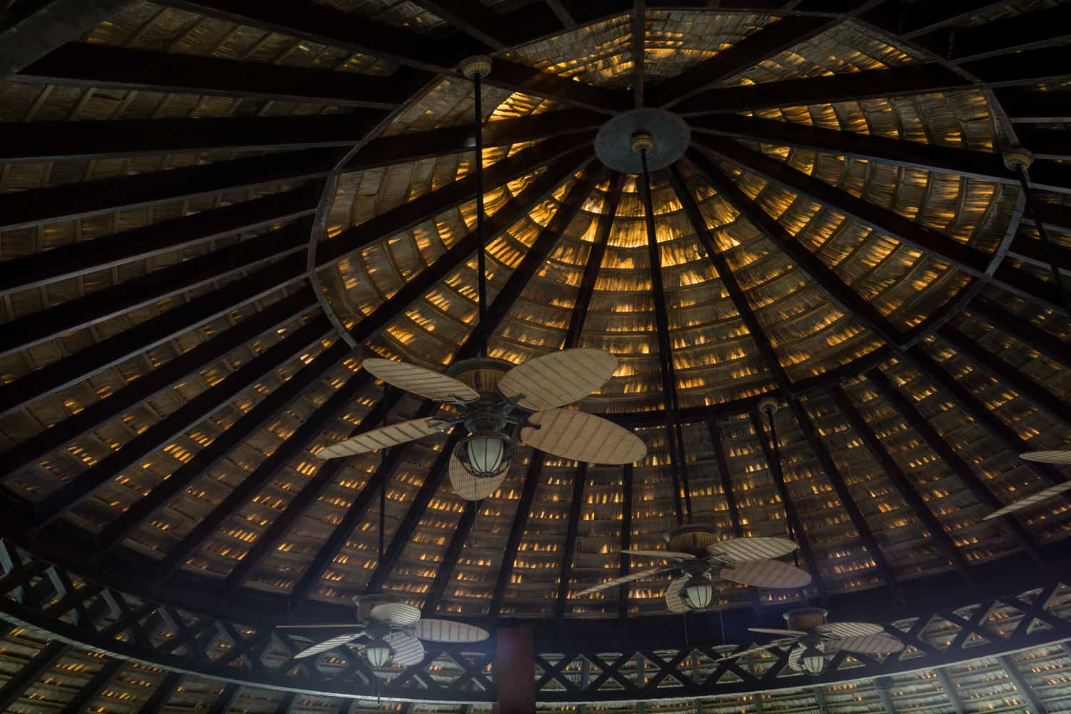 The high ceiling of the El Ranchito hut for a wedding ceremony or reception.